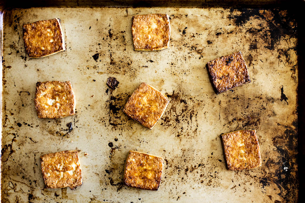 roasted tofu on sheet pan